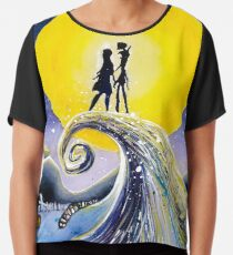Jack and Sally Night Sky Watercolor Chiffon Top