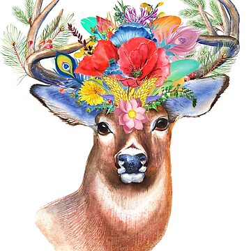 Deer with flowers. by MaikLegend