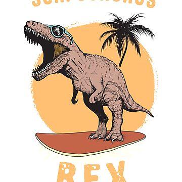 Surfosaurus Rex funny surfer surfing Design by Noto57