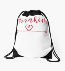 Marrakech Love Heart Handwriting Style Drawstring Bag