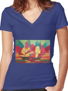 Cubist Abstract of Junk Sails and Ocean Skies Women's Fitted V-Neck T-Shirt