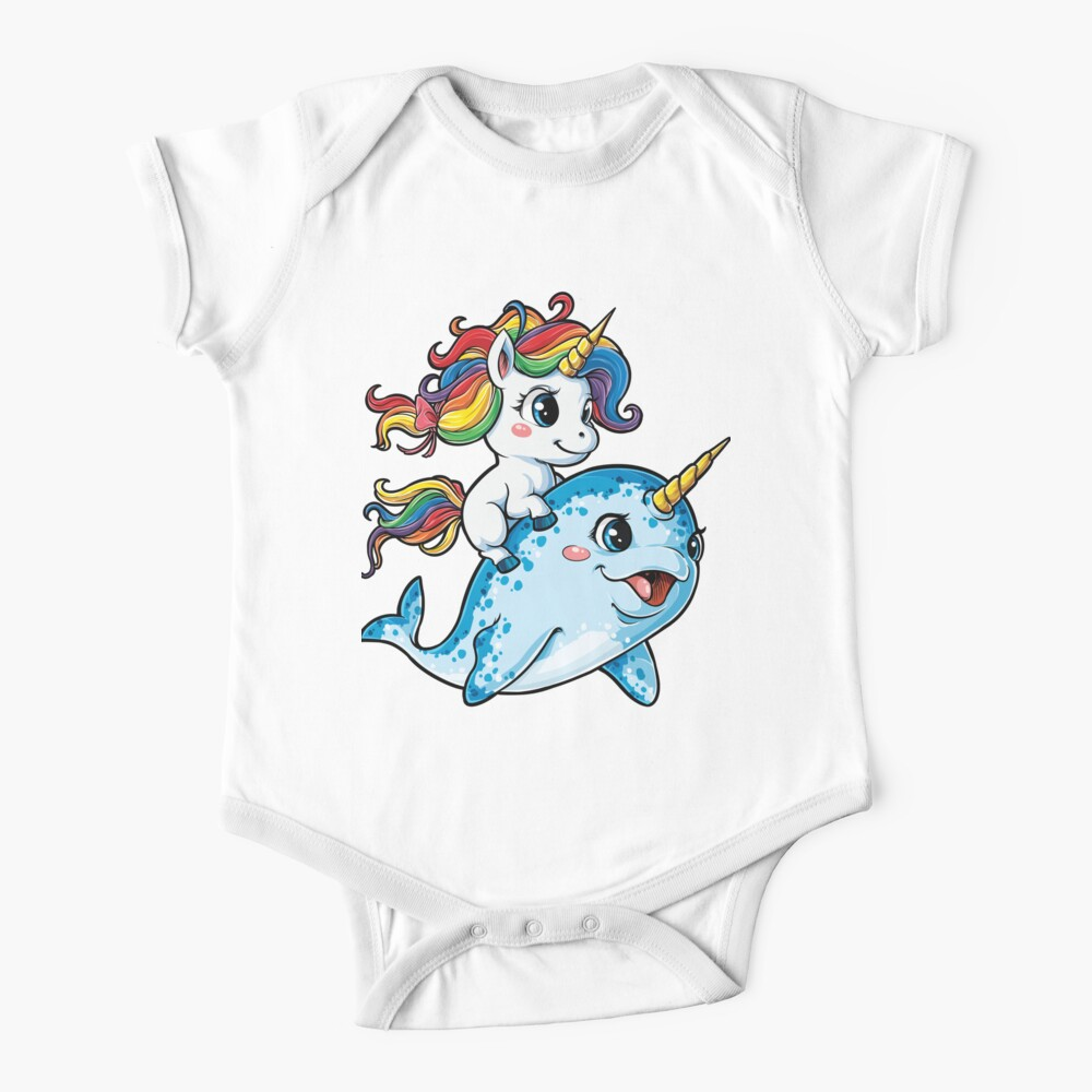 Unicorn Riding Narwhal T shirt Squad Girls Kids Rainbow Unicorns Gifts Party Baby One-Piece