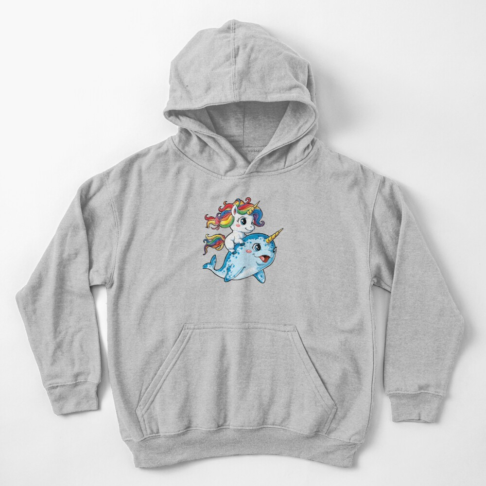 Unicorn Riding Narwhal T shirt Squad Girls Kids Rainbow Unicorns Gifts Party Kids Pullover Hoodie