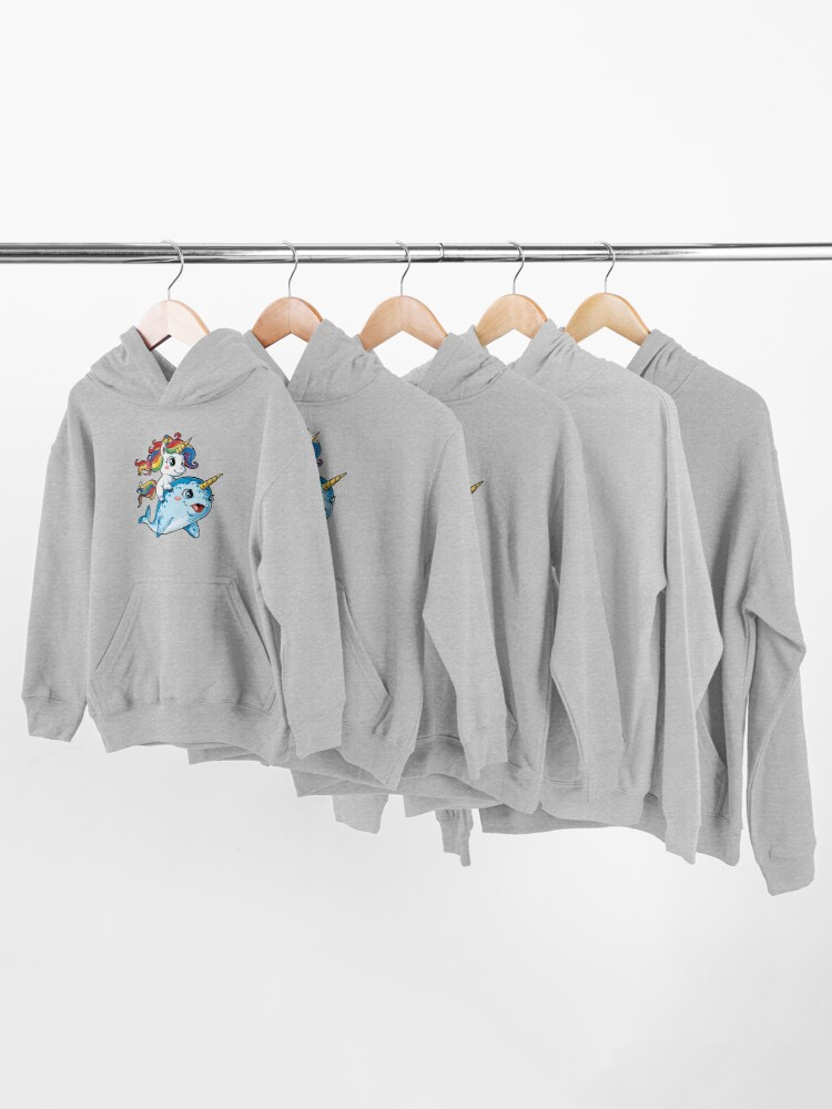 Alternate view of Unicorn Riding Narwhal T shirt Squad Girls Kids Rainbow Unicorns Gifts Party Kids Pullover Hoodie