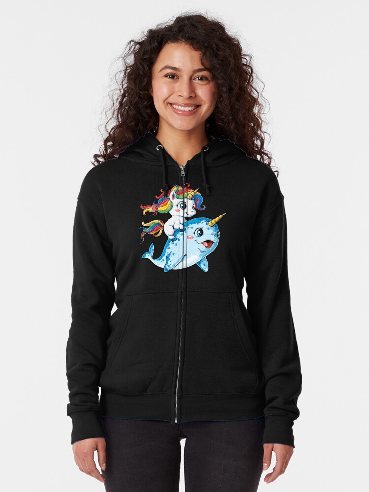 Alternate view of Unicorn Riding Narwhal T shirt Squad Girls Kids Rainbow Unicorns Gifts Party Zipped Hoodie