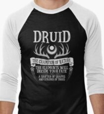 DRUID, THE CHAMPION OF NATURE - Dungeons & Dragons (Black) Men's Baseball ¾ T-Shirt
