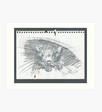 Sketch of the devil that bite my sketch pad Art Print
