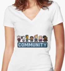 8-Bit Community  Women's Fitted V-Neck T-Shirt