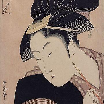 Vintage Japanese Ukiyo-e Woodblock Print Woman Portrait III by VintageArchive