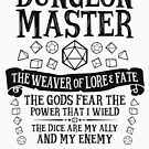 Dungeon Master, The Weaver of Lore & Fate - Dungeons & Dragons (Black Text) by enduratrum