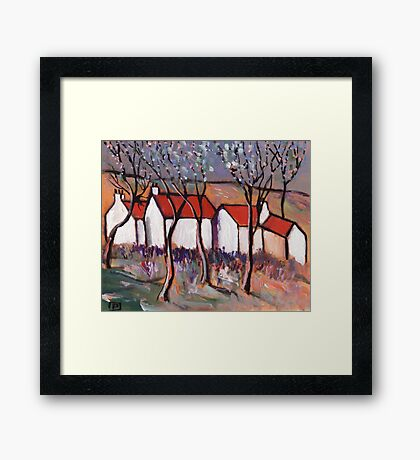 RED ROOFS AND BLOSSOM TREES Framed Print