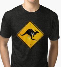 Kangaroo road sign Tri-blend T-Shirt