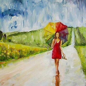 Girl in the rain by Hristova