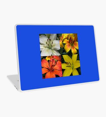Funkelnde Juwelen - Regentropfen auf Lilien-Collage Laptop Skin