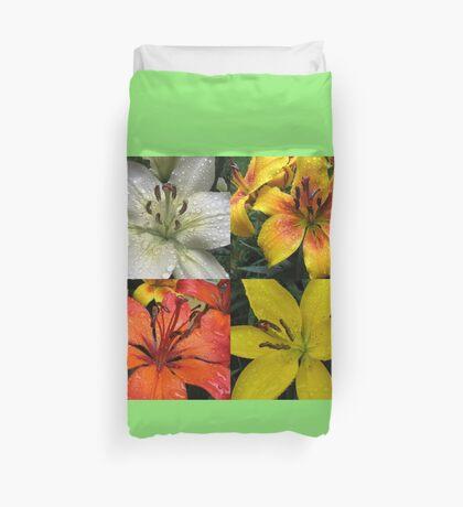 Funkelnde Juwelen - Regentropfen auf Lilien-Collage Bettbezug