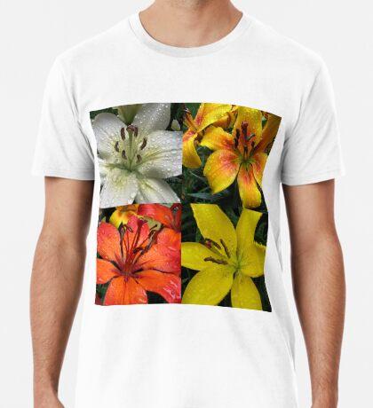 Funkelnde Juwelen - Regentropfen auf Lilien-Collage Premium T-Shirt