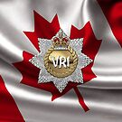 The Royal Canadian Regiment - The RCR Cap Badge over Canadian Flag by Serge Averbukh