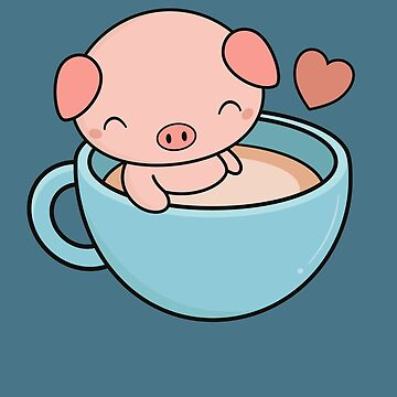 Kawaii Cute Pig Loves Coffee by happinessinatee