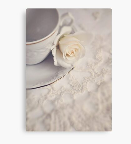 Cream Rose, Lace, and China Cup. Canvas Print