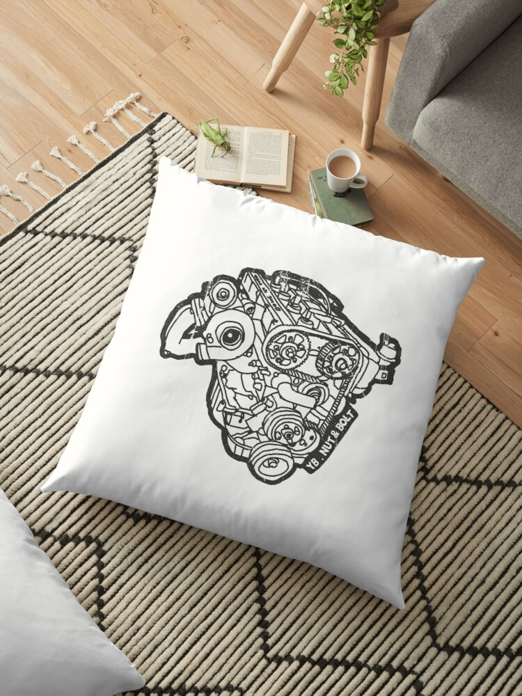 'Ford Sierra Cosworth YB Turbo Engine' Floor Pillow by Nut and Bolt Design