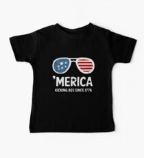 4th of July Merica Kicking Ass Since Patriotic USA gun Baby Tee
