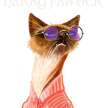 cat t shirt - Harry Pawter Funny T-Shirt Cute Magic Cat With Glasses Gift.  by alisalem