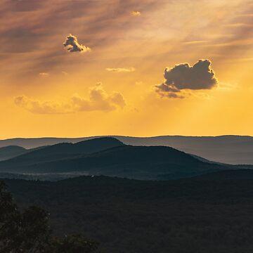 Sunset  over Quabbin Reservoir hill by LudaNayvelt