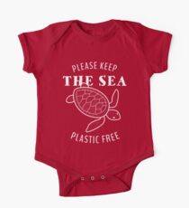 Bitte behalte das Meer Plastik frei - Schildkröte Baby Body Kurzarm