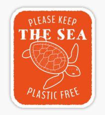 Pegatina Por favor, mantenga el mar libre de plastico - tortuga