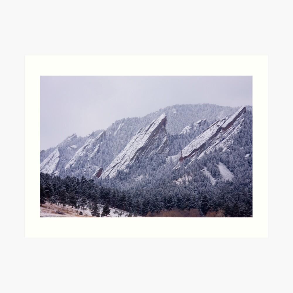 Snow Dusted Flatirons Art Print