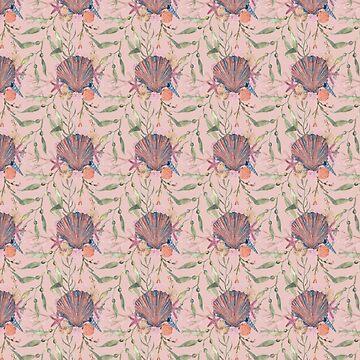 Peach pink seashell print by MermaidsCoin