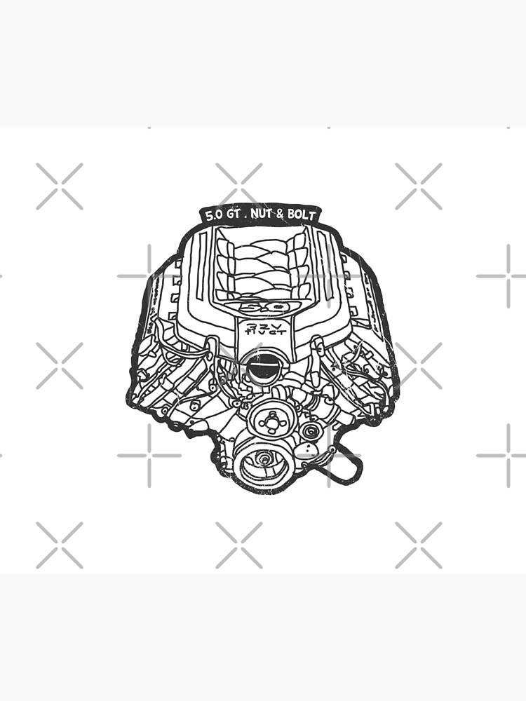 Ford Mustang Gt 5 0 V8 Engine Wall Tapestry By Nutandbolt