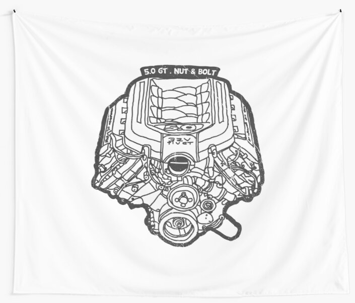 Ford Mustang Gt 5 0 V8 Engine Wall Tapestries By Nut And Bolt