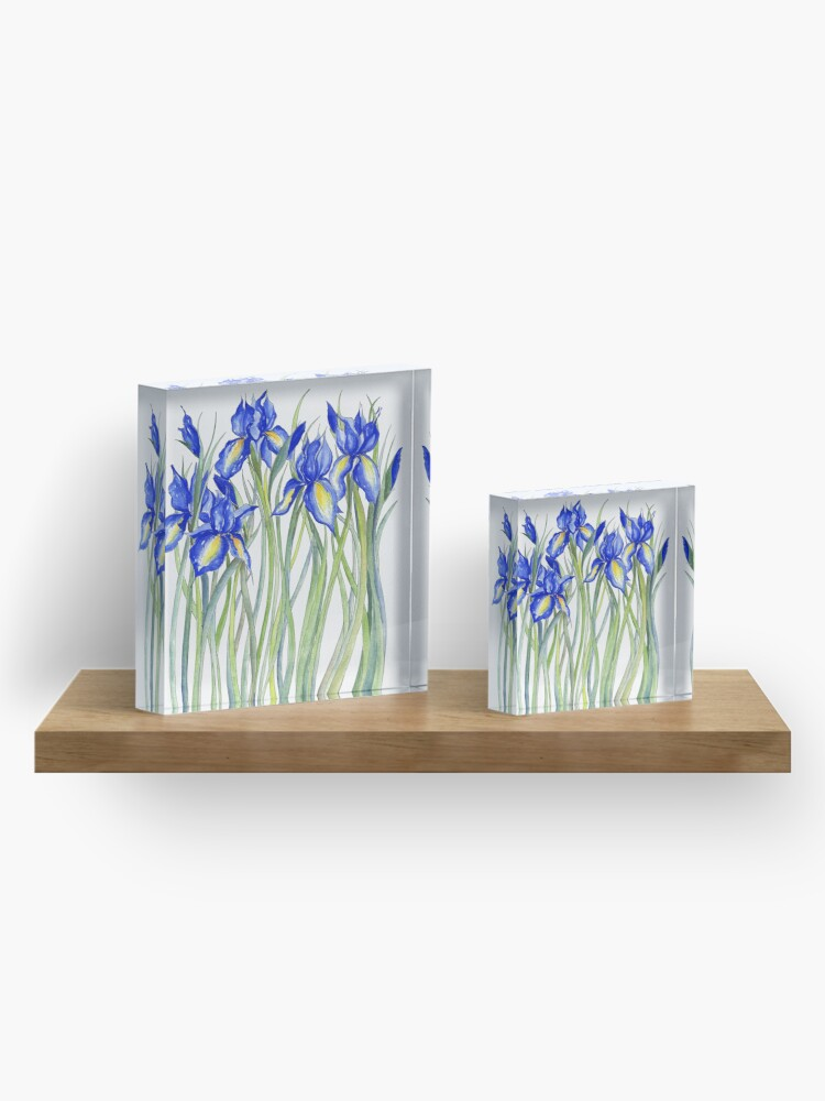 Alternate view of Blue Iris, Illustration Acrylic Block