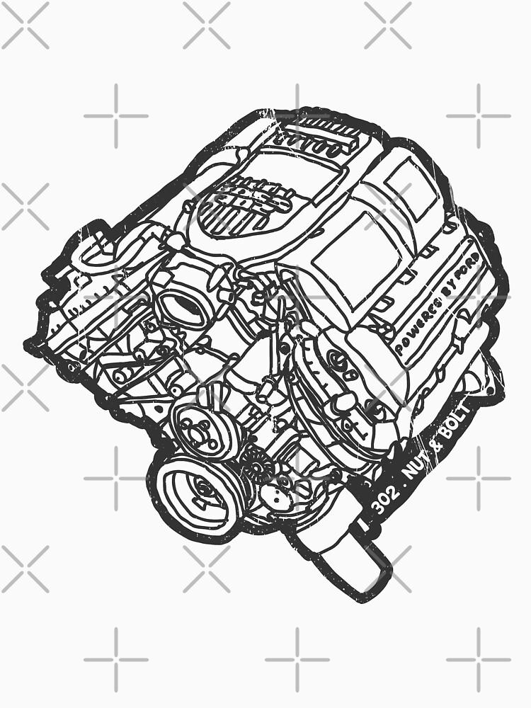 Ford Mustang Boss 302 V8 Engine Classic T Shirt By Nutandbolt