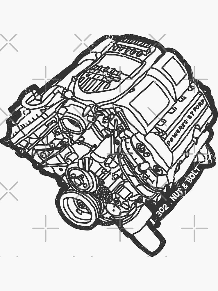 Ford Mustang Boss 302 V8 Engine Sticker By Nutandbolt