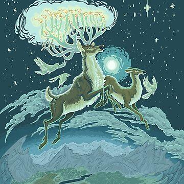 Reindeer Midnight Flight - Digital Teal Tone by carissalapreal