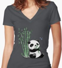 Panda Eating Bamboo Women's Fitted V-Neck T-Shirt
