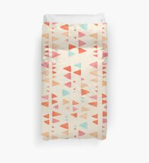 Back & Forth - triangle abstract pattern in peach, aqua & cream Duvet Cover