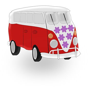 Red And White Camper Van by biglnet