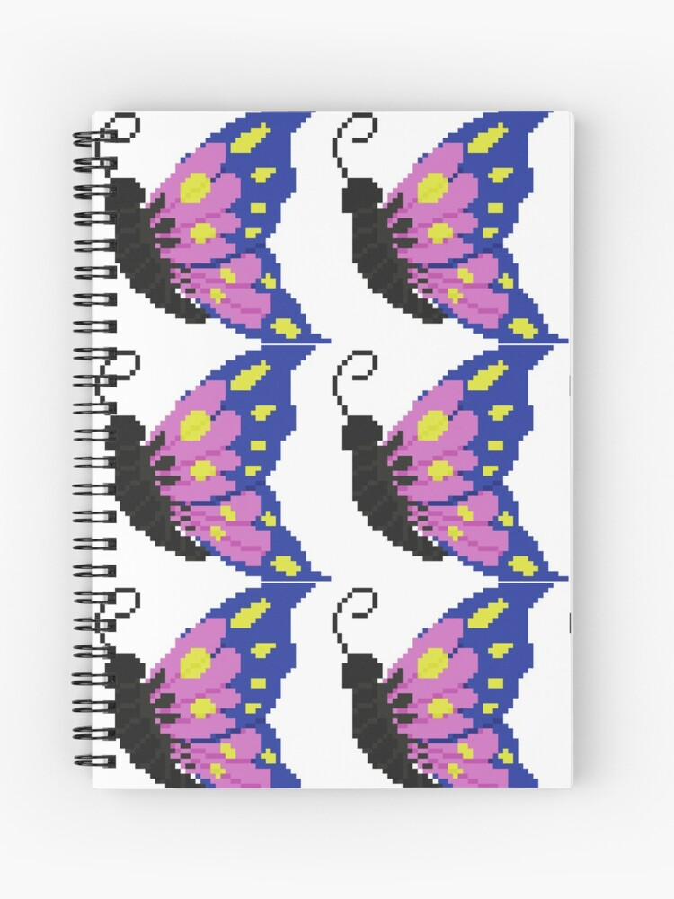 Pixel Art Butterfly Spiral Notebook