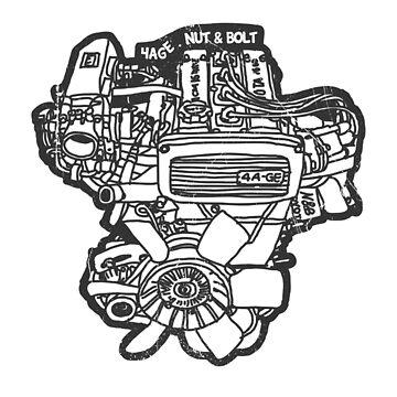 Toyota AE86 Corolla Levin Sprinter Trueno 4AGE Engine by nutandbolt