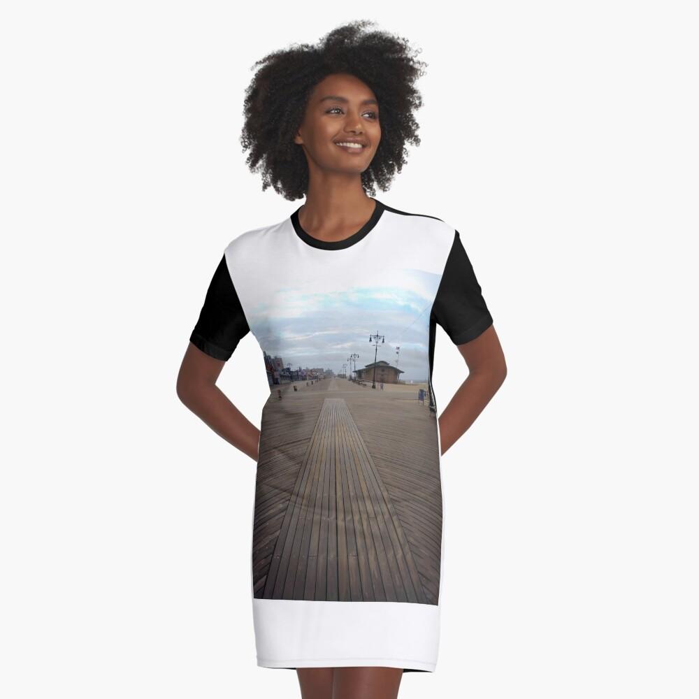 Coney Island - New York, #Coney, #Island, #New, #York, #ConeyIsland, #NewYork, #Boardwalk Graphic T-Shirt Dress Front