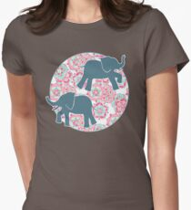 Tiny Elephants in Fields of Flowers Womens Fitted T-Shirt