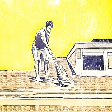 Retro man vacuums roof  by tacostudio