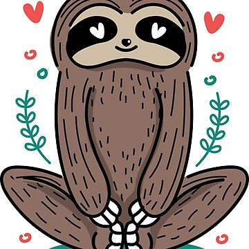 Yoga Sloth Cute Funny Cartoon Character by decentdesigns