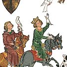 Falcon Hunting...art from medieval Germany 13th century by edsimoneit