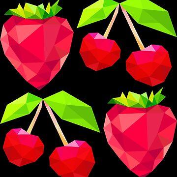 Strawberries and cherries by DrTigrou