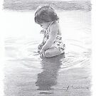 baby girl in tidal pool drawing by Mike Theuer