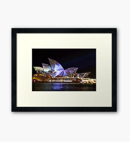Fractured Sails - Sydney Vivid Festival - Sydney Opera House Framed Print